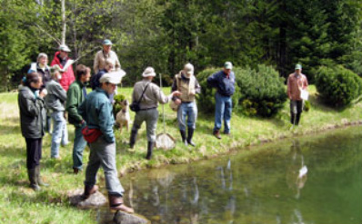 Picture of cooperators looking at a farm's artificial pond.